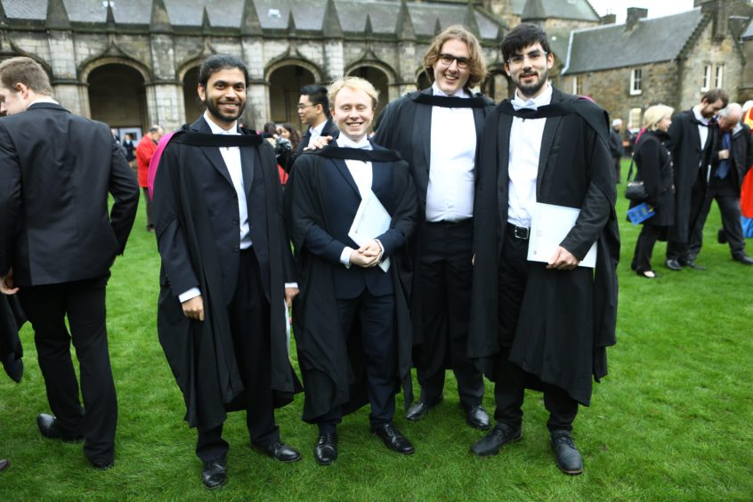 Graduates in computer science, Tharin de Silva, David Burns, Daniel Vente and Marc Roig.