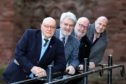 Geoff Bray (Arbroath 2020 committee), Lord Leiutenant Norman Atkinson, David Fairweather (council leader) and Derek Wann (local councillor)  at the abbey.