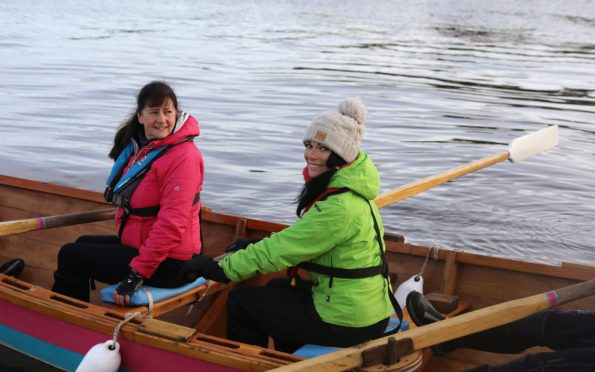 Gayle out coastal rowing on the Tay with Wormit Boating Club. Here, she poses up for pictures with Evelyn Hardie.