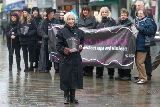 Thursday in Black organiser Elaine Cameron  (front) with demonstrators.