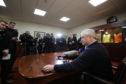 Mike Martin briefing the media on Dundee United's new owner Mark Ogren.