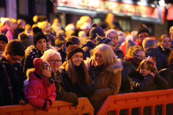 The Christmas tree lights switch-on drew large crowds in Arbroath.
