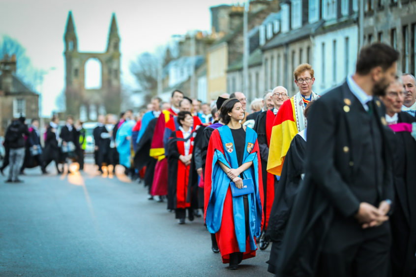 The graduation procession.