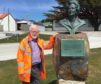 Graeme Law in the Falklands with a bust of former British PM Margaret Thatcher