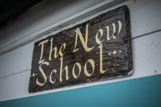 A sign at the now-closed school.