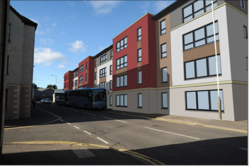 An artist' impression of the flats.
