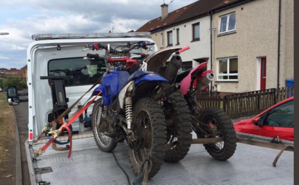 Bikes seized in Levenmouth.