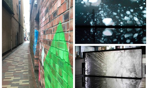 Mill Street, Perth (left). Previous work by Elizabeth Ogilvie and Rob Page (right).