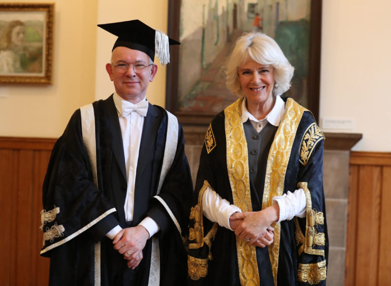 Camilla, The Duchess of Cornwall, attended a ceremony at Elphinstone Hall, King's College, Aberdeen, to install Professor George Boyne as Vice-Chancellor of the University of Aberdeen.
