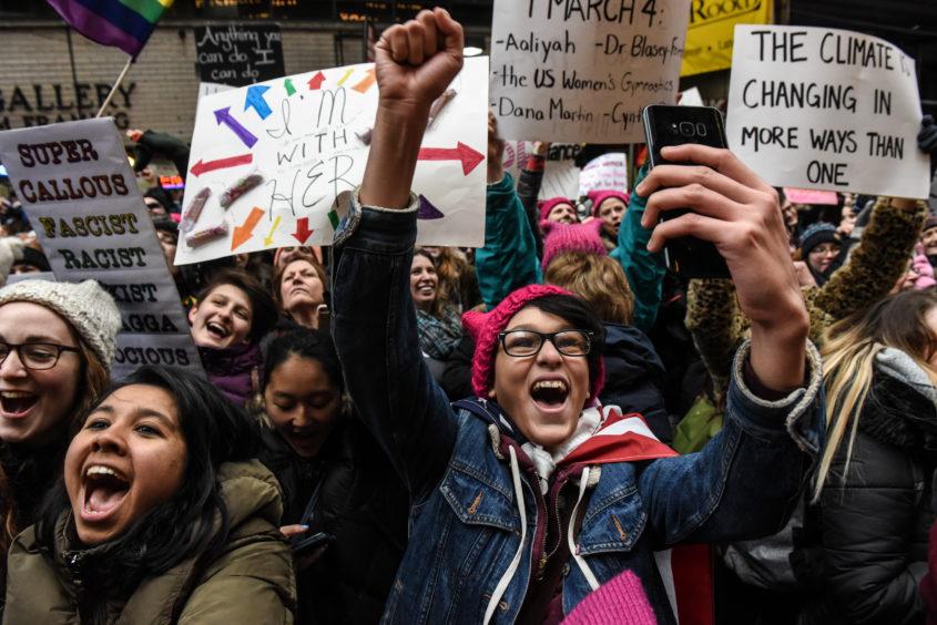Demonstrators in New York City.