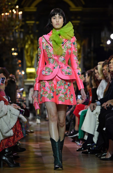 Greens with pinks are pinks are the new black. Schiaparelli Spring Summer 2019.