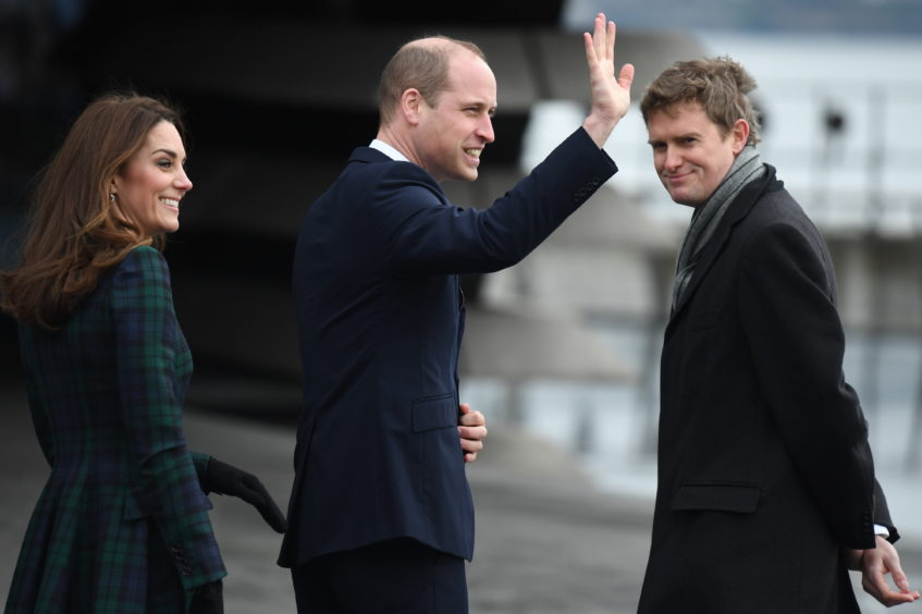 Catherine, Duchess of Cambridge and Prince William, Duke of Cambridge arrive to officially open V&A Dundee. Jeff J Mitchell/Getty Images