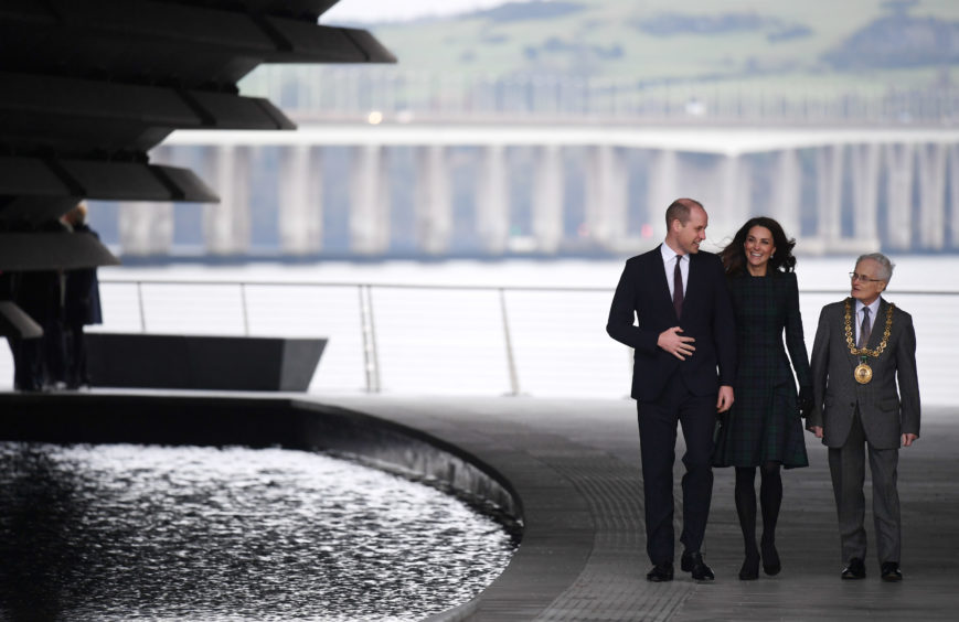 Catherine, Duchess of Cambridge and Prince William, Duke of Cambridge arrive to officially open V&A Dundee. Jeff J Mitchell / Getty Images
