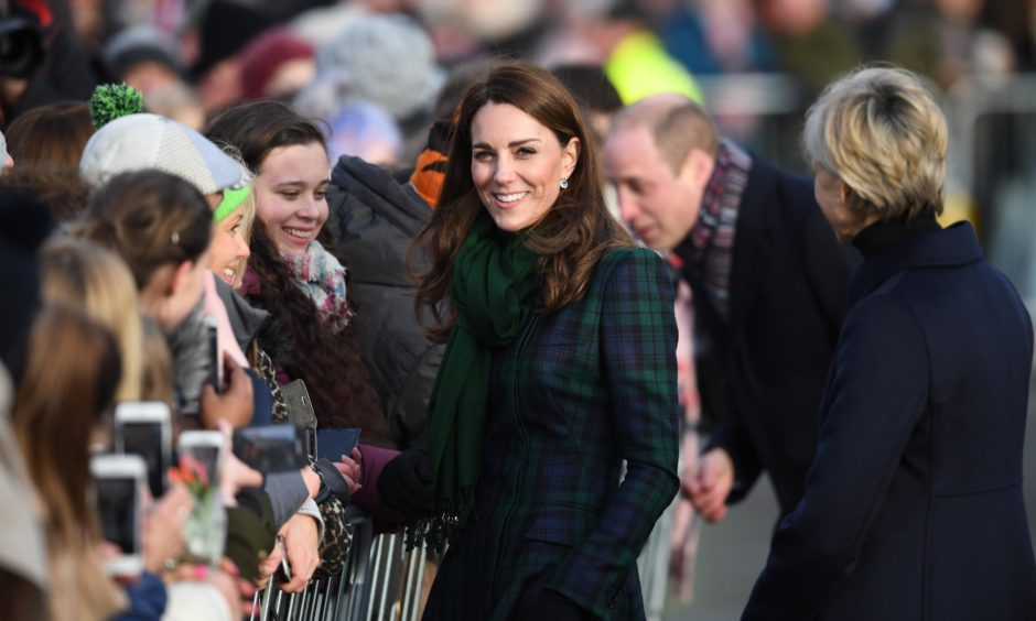 Kate greets members of the public on the waterfront during a walkabout. Jeff J Mitchell/Getty Images
