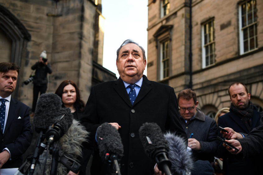 Former Scottish First Minister Alex Salmond delivers a statement outside the Court of Session in Edinburgh after winning his sexual harassment inquiry case against the Scottish government.