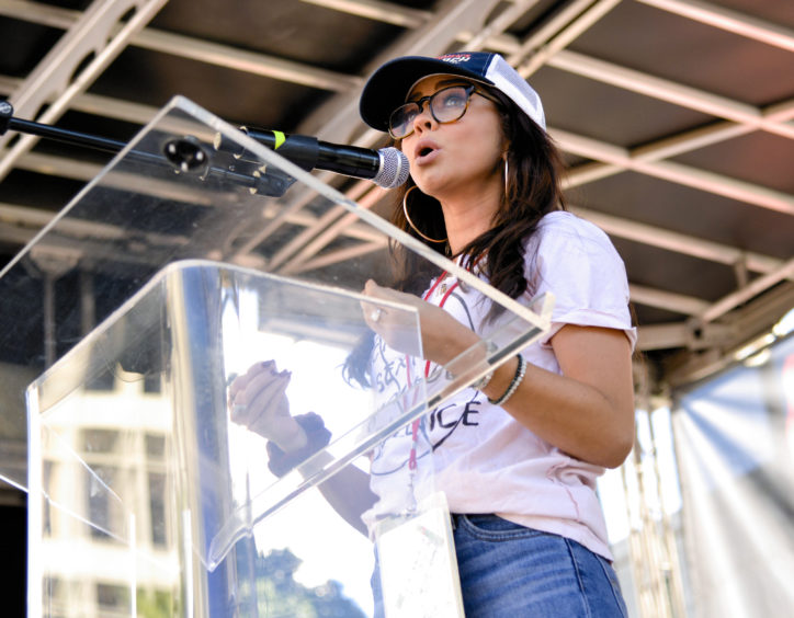 Actress Sarah Hyland speaks onstage during the 2019 Women's March Los Angeles.