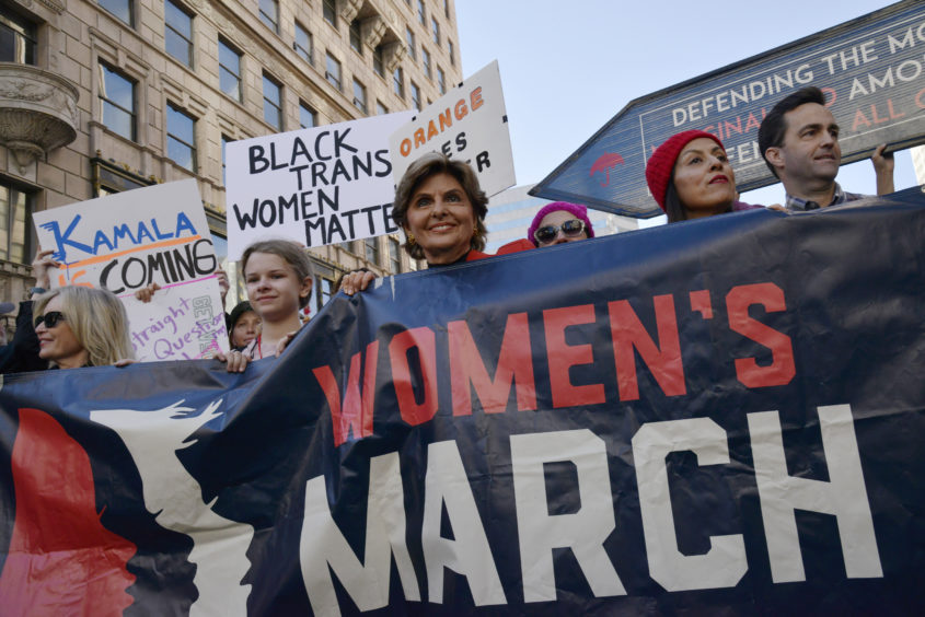 Women's rights attorney Gloria Allred speaks during the 2019 Women's March Los Angeles.