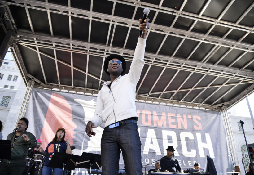 Musician Aloe Blacc performs during the 2019 Women's March Los Angeles.