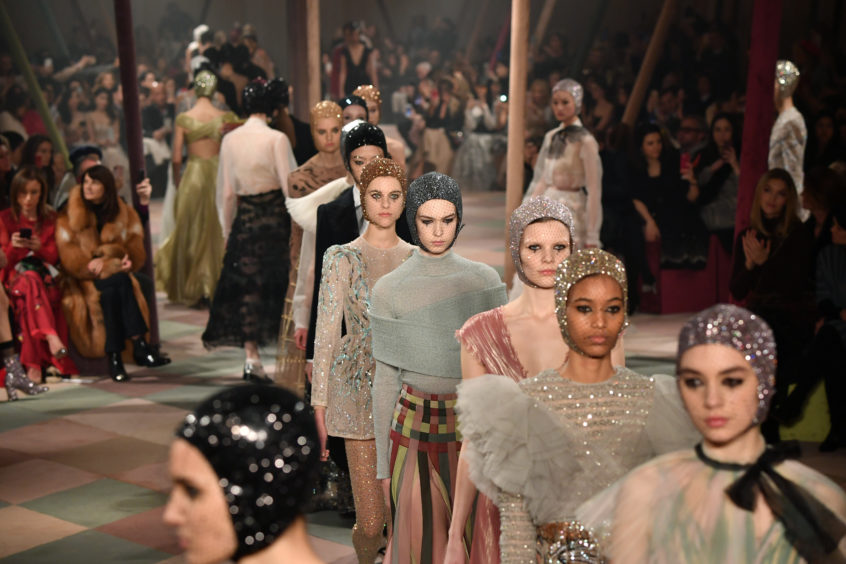 Models walk the runway during the Christian Dior Spring Summer 2019 show as part of Paris Fashion Week
