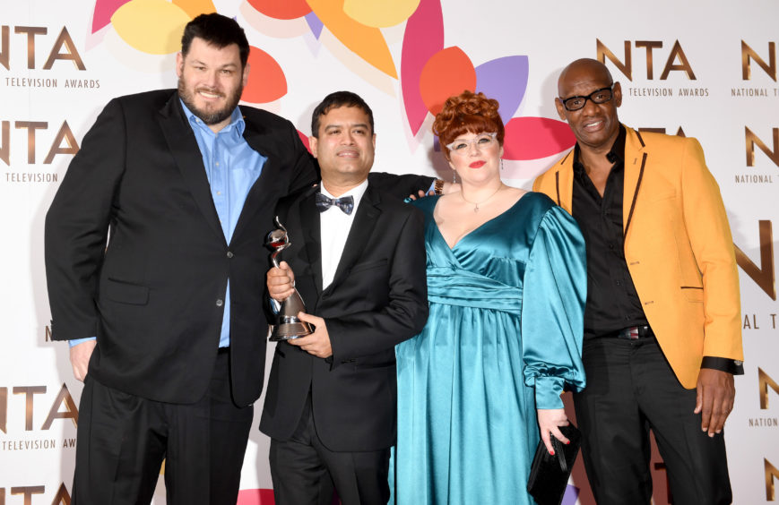 Mark Labbett, Paul Sinha, Jenny Ryan and Shaun Wallace with the award for Best Quiz Show for The Chase.