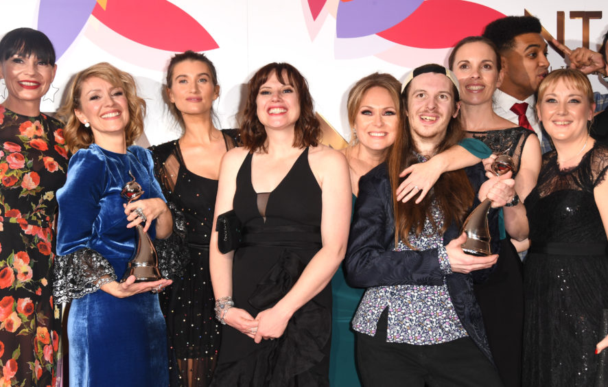 The cast and crew of Emmerdale, Best Serial Drama award winner.