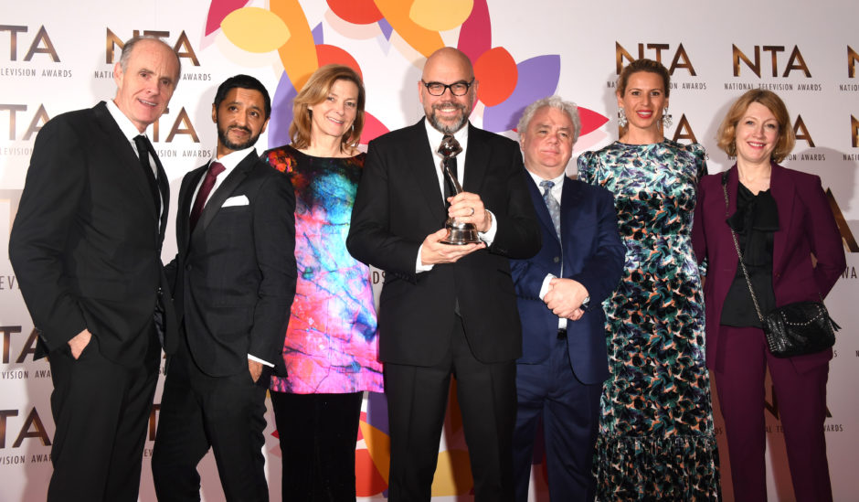 Ash Tandon and Pippa Haywood with the cast and crew of The Bodyguard, winner of Best New Drama.