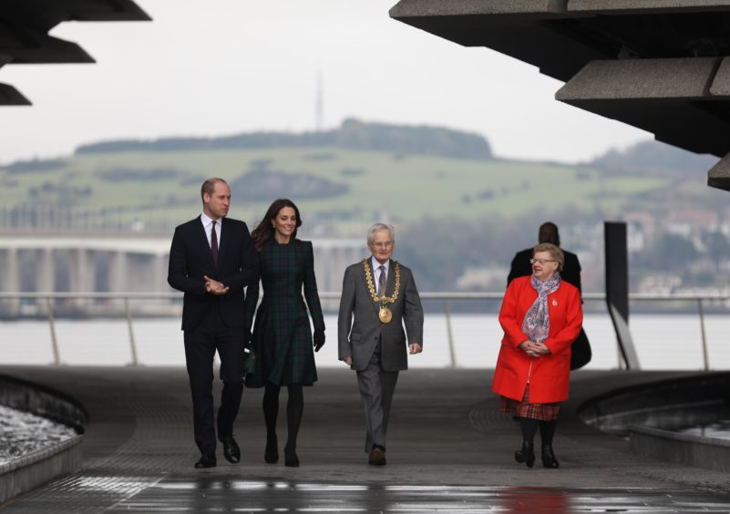 Catherine, Duchess of Cambridge and Prince William, Duke of Cambridge arrive to officially open V&A Dundee. Mhairi Edwards / DCT Media