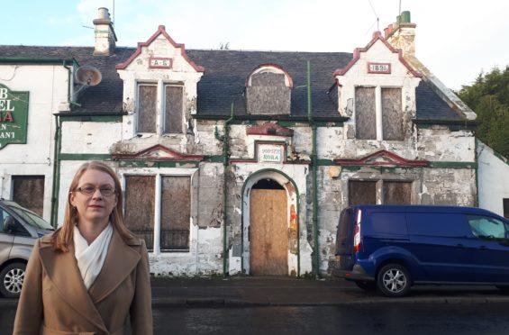 SNP MSP Shirley-Anne Somerville at a well known derelict hotel in Halbeath