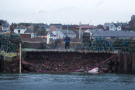 The collapsed section of wall at Arbroath harbour.