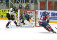 Dundee Stars goalie Pontus Sjogren saves an attempt from Manchester Storm's Logan MacMillan.