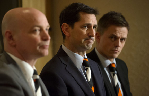 Jackie McNamara (centre) with Stephen Thompson and Simon Donnelly after being announced as the new Dundee Dundee United manager.