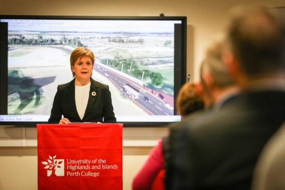 First Minister Nicola Sturgeon in Perth College announcing funding for the new crossing.