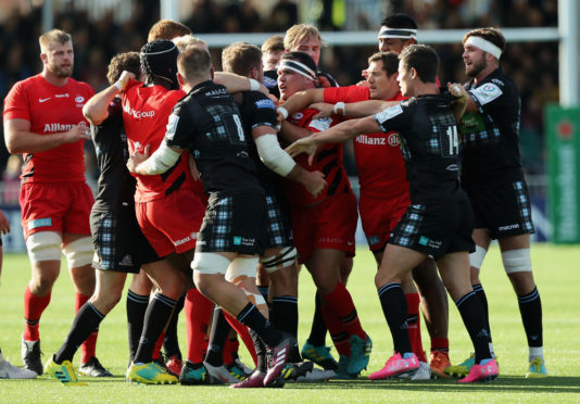 Ryan Wilson (far right) was actually the peacemaker in this tussle in October's bad tempered meeting of Glasgow and Saracens.