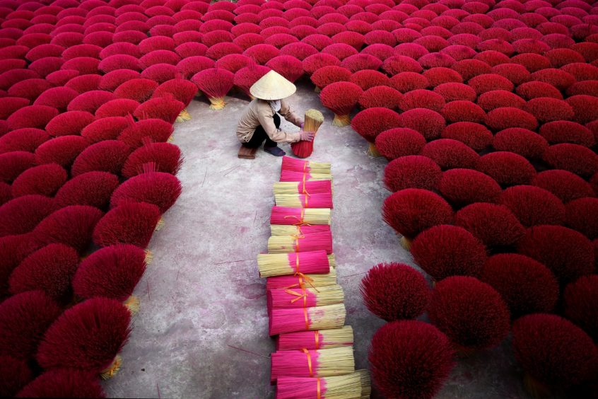 A Vietnamese woman collecting incense sticks in a courtyard in the village of Quang Phu Cau on the outskirts of Hanoi. - In Vietnam's 'incense village'.