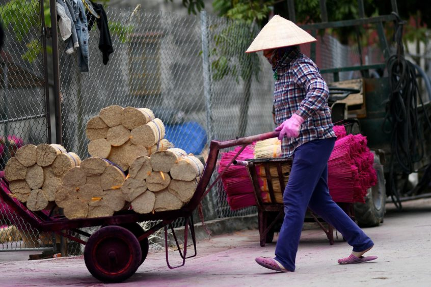 A Vietnamese woman carrying bamboo sticks for dying at a workshop on the outskirts of Hanoi.