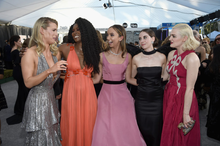 Winners of Outstanding Action Performance by a Stunt Ensemble in a Comedy or Drama Series, the cast of GLOW: Betty Gilpin, Sydelle Noel, Britt Baron, Alison Brie, and Gayle Rankin.