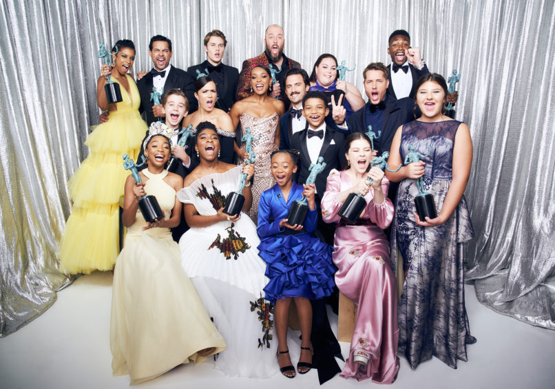 Cast and crew of This Is Us, winners of the Outstanding Performance by an Ensemble in a Drama Series.