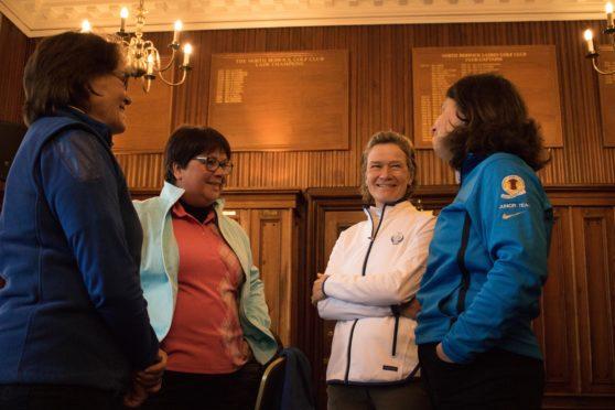 Catriona Matthew speaks to Solheim Cup ambassadors at North Berwick.