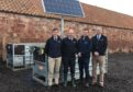 L-R: Willie Rowe of Scotbeef; Dave Ross, Agri-EPI; Niall Jeffrey; Gavin Dick, Agri-EPI with a Beef Monitor.