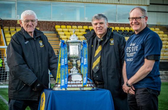 East Fife FC Chairman Jim Stevenson (centre) with David Marshall, club Vice Chairman, and Steve Blake Operations Director at Diageo Cameronbridge Distillery.