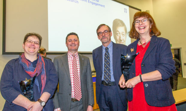 Professor Niamh Nic Daéid (Engaged Researcher of the Year), Professor Andrew Atherton (Principal & Vice-Chancellor Dundee University), Professors Bob Steele and Annie Anderson (Public Engagement Project of the Year), Dundee University, Dalhousie Building, Hawkhill, Dundee.