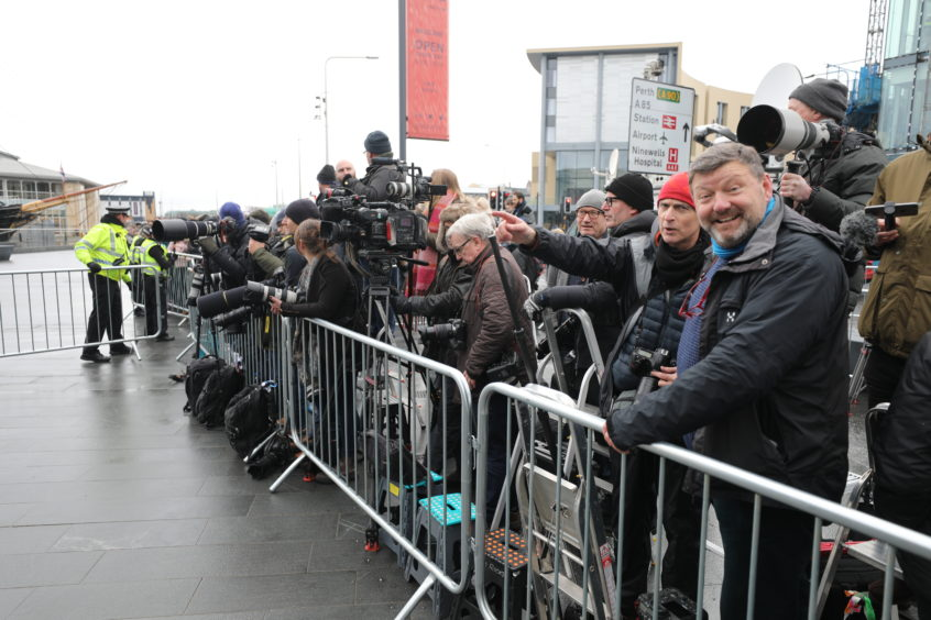 The press gather at the V&A for the arrival. Kris Miller / DCT Media