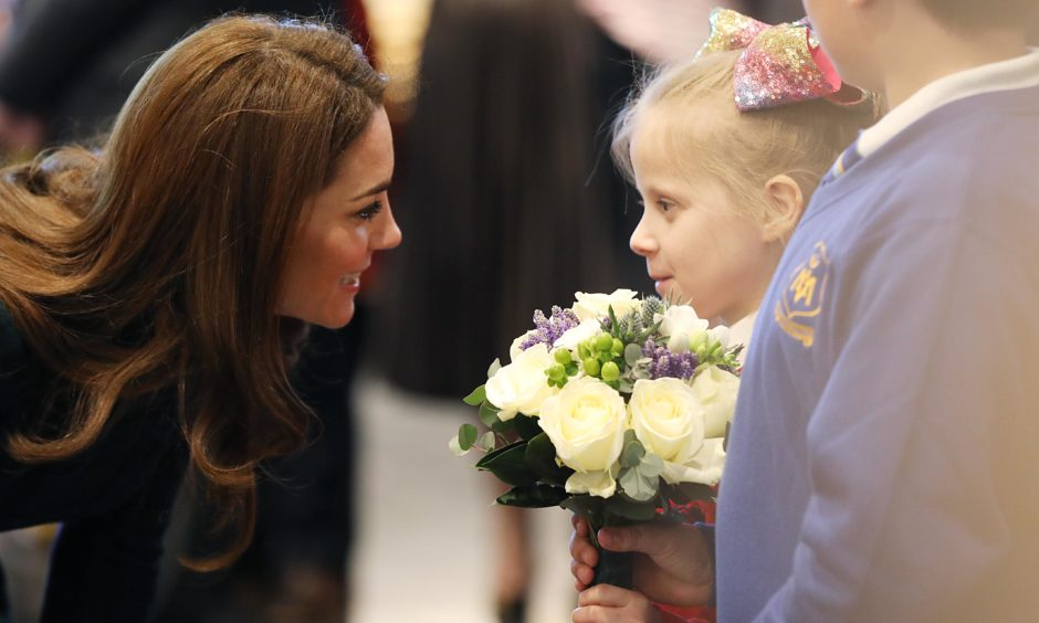 Kate meets a young girl as she arrives to officially open V&A Dundee. Kris Miller / DCT Media