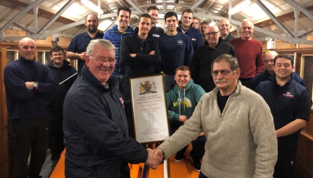 "The UK's longest-serving lifeboat crewman has retired to terra firma after spending more than half his life saving others in the dangerous waters off Angus. Arbroath RNLI crew marked the 36 years of service Ron Churchill has devoted to the organisation with a gathering for the presentation of a certificate of service in an event at the harbour lifeboat shed. In various capacities as lifeboat crew member and mechanic, Ron has been involved in saving no fewer than 21 lives, and been involved in countless other challenging operations, some sadly tragic.  In 2012, as he marked his 60th birthday, rather than starting to wind down as many may have done, Ron became something of a celebrity as the oldest serving lifeboat crew member in Scotland.  Prior to retiring, Ron had also become the longest active serving boat crew member in the UK, and whilst retirement beckons he is not completely cutting his ties with the Angus station. Alex Smith, lifeboat operations manager at Arbroath, said: ""People with the dedication and commitment to a cause, such as Ron has shown to the lifeboats here in Arbroath, are very rare.  ""We are extremely fortunate to have benefited from his service over many years and the value of the knowledge and experience he can pass on to our current and future crews is immeasurable.  ""Unfortunately for Ron, as for all of us, time waits for no man and he has reached a stage in life whereby it's time to step off the boat, but he will remain an integral part of the lifeboat service here at Arbroath for many years to come.  ""He certainly deserves all the recognition he receives having dedicated more than half his life to the RNLI.""  Ron said ""I have loved every minute of my time on the lifeboats.  ""There were of course many challenges over the years but more than anything the camaraderie of the crew always pulled us through.  ""As one chapter ends though, another begins and I'm delighted to be able to continue as volunteer DLA (deputy launch authority) and training assessor for the station.  ""I would like to say I look forward to a relaxing retirement but I'm sure between my new roles and the list of things my wife has given me to do I'll probably be busier than ever.""    Ron is pictured (right) being presented with his Certificate of Service from Alex Smith with some members of the current crew watching on."