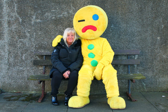 Rhona Cunningham from Fife Gingerbread with Gingey.
