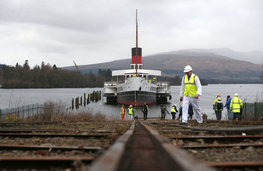 The Maid of the Loch before the craddle carrying the vessel snapped during the 'slipping' of the historic steamer as it was being hauled out the water by the original winchhouse and onto the Balloch Steam Slipway.