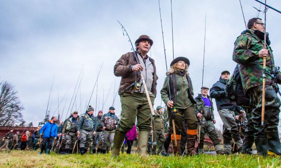 The River Tay Salmon fishing season opened at Meikleour Fishing, Kinclaven Bridge, by Meikleour.