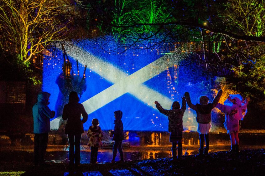 The crowd watch the saltire light show.