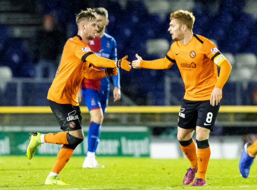 Fraser Fyvie, right, in congratulated by Billy King after scoring from the spot.
