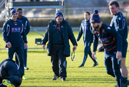 Edinburgh head coach Richard Cockerill in the midst of training.